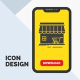 Shop, store, market, building, shopping Glyph Icon in Mobile for Download Page. Yellow Background. Vector EPS10 Abstract Template background vector illustration