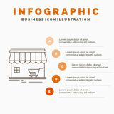 Shop, store, market, building, shopping Infographics Template for Website and Presentation. Line Gray icon with Orange infographic. Style vector illustration vector illustration