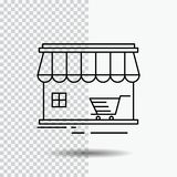 Shop, store, market, building, shopping Line Icon on Transparent Background. Black Icon Vector Illustration. Vector EPS10 Abstract Template background royalty free illustration