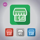 Shop / store, supermarket building vector set icons. Flat style. Stock Image