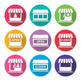 Shop or store, supermarket flat design icons set Stock Images