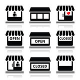 Shop or store, supermarket  icons set Royalty Free Stock Photography