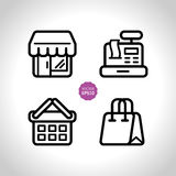 Shop and store, supermarket vector icons set. Flat illustration. Stock Photo