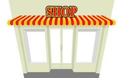 Shop. Storefront with visor.  shop building. An empty co Stock Image