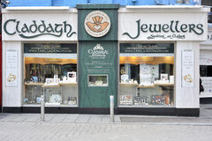 Shop Street, Galway, Ireland June 2017, Claddagh Jewellers Shop,. Forehead of the jewellery which craft the traditional Claddagh rings Stock Photography