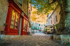 Shop in Moustiers Sainte Marie. Shop and street in the lovely village of Moustiers Sainte Marie in France Stock Images
