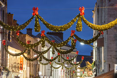 Shop street at night, Galway. Shop street at night illuminated with Christmas lights, Galway, Ireland Stock Photos