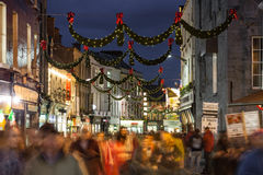 Shop street at night, Galway Stock Photo
