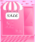 Shop with striped awning. Text sale, pink colours Stock Image
