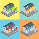 Shop, supermarket exterior. Shops stores and supermarket buildings flat decorative icons set isolated vector 3d Stock Image