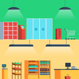 Shop, supermarket interior. Entrance, showcase checkout Vector illustration in flat style for web banners and print Stock Photography