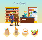 Shop, supermarket interior, healthy eating. Family walking around the store. Royalty Free Stock Photos