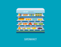 Shop, supermarket interior shelf with fruits, vegetables, milk, honey, drinks, preserves. Healthy eating and eco food. Royalty Free Stock Photography