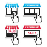 Shop, supermarket, sale icons with cursor hand icon Royalty Free Stock Images