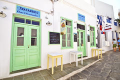 Shop with sweets and donuts at Sifnos Cyclades Greece stock images