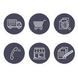 Shop symbols, navigation - stores, how to purchase, terms and conditions, contact, sign in and register, shipping, grey circular b Royalty Free Stock Photos