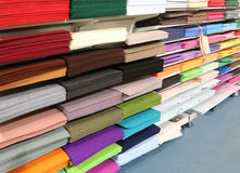 Shop for tailors and hobby full of fabrics and felts Royalty Free Stock Photo