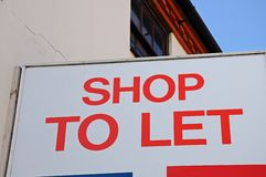 Shop to let sign, Lichfield, England. Royalty Free Stock Image
