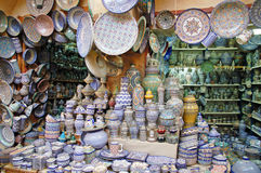 Shop with traditional pottery in Fes Stock Photo