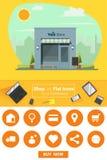 Shop und flache Ikonen für E-Commerce Stockbilder