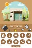 Shop und flache Ikonen für E-Commerce Bäckerei kaufen Lizenzfreies Stockbild