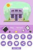 Shop und flache Ikonen für E-Commerce Blumenladen Lizenzfreies Stockfoto