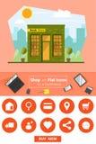 Shop und flache Ikonen für E-Commerce Buchladen Stockfotos