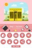 Shop und flache Ikonen für E-Commerce Butikenspeicher Lizenzfreie Stockfotografie