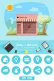 Shop und flache Ikonen für E-Commerce Kaffeestube Lizenzfreie Stockbilder