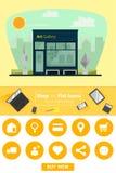 Shop und flache Ikonen für E-Commerce Kunstgalerie Lizenzfreie Stockfotos