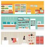 Shop- und Speicherfahnensatz Lizenzfreie Stockfotos