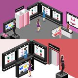 Shop of underwear. Isometric flat 3D cutaway interior lingerie store Royalty Free Stock Photo