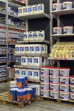 Shop with varnishes and paints for the house Royalty Free Stock Photos