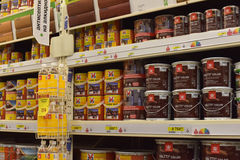 Shop with varnishes and paints for the house Royalty Free Stock Photo