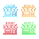 Shop vector icons set. Store icons. Flat style. Line design Stock Images