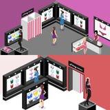 Shop von Unterwäsche Isometrisches flaches Innenwäschegeschäft 3D im Schnitt Lizenzfreies Stockfoto