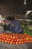 Shop-Wächter, der Gemüse in Lahore Pakistan verkauft lizenzfreies stockbild