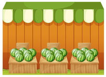 A shop of watermelons with empty boards Royalty Free Stock Image