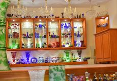 Shop where they sell glass products. Shop where they sell very beautiful glass products in old street of Cesky Krumlov, Czech Republic, October 2017 Royalty Free Stock Photos