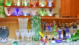 Shop where they sell glass products. Shop where they sell very beautiful glass products in old street of Cesky Krumlov, Czech Republic, October 2017 Royalty Free Stock Photo
