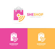 Shop and wifi logo combination. Sale and signal symbol or icon. Unique bag and radio, internet logotype design template. Stock Images