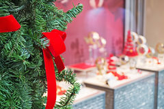 Shop window with christmas decoration Royalty Free Stock Photo
