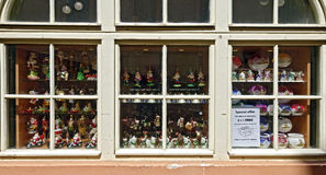 Shop window with christmas decoration Stock Photo