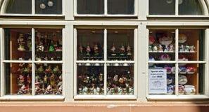 Shop window with christmas decoration. Shop window with traditional glassy christmas decoration at Prague, Czech Republic Stock Photo