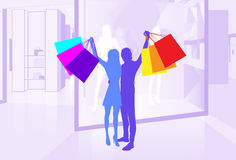 Shop Window Couple Silhouette Hold Shopping Stock Photo
