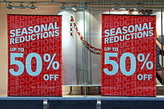 Shop window display in the christmas sales. Shop window display in the post christmas sales Royalty Free Stock Photos