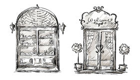Shop-window and entrance door drawing, retro style Stock Images