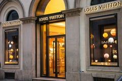 Shop window and entrance of a Louis Vuitton shop in Milan Stock Photos