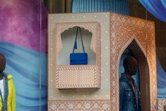 Shop window with a handbag in Oriental style stock images