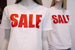 Shop window mannequins advertising sale Royalty Free Stock Photo